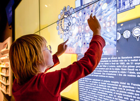 Multimedia screens teach kids about Gaudi.