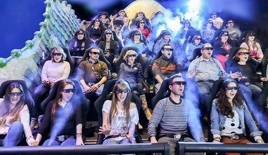 An audience enjoying the 4D show at the Gaudí Experience