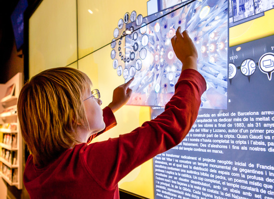 Multimedia screens are a fun way for kids to learn the facts about Antoni Gaudí