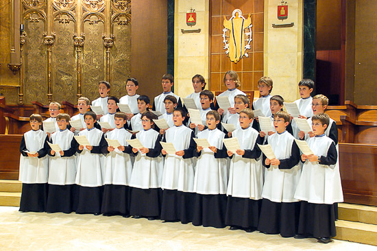 Escolania boys choir performing in Montserrat, Barcelona, Spain