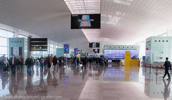 Inside one of the Barcelona Airport terminals