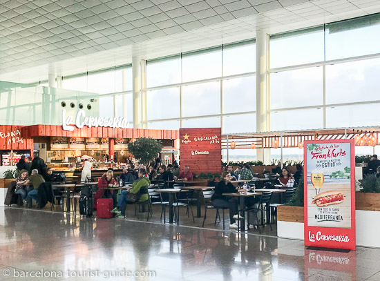 One of the cafes inside Barcelona Airport