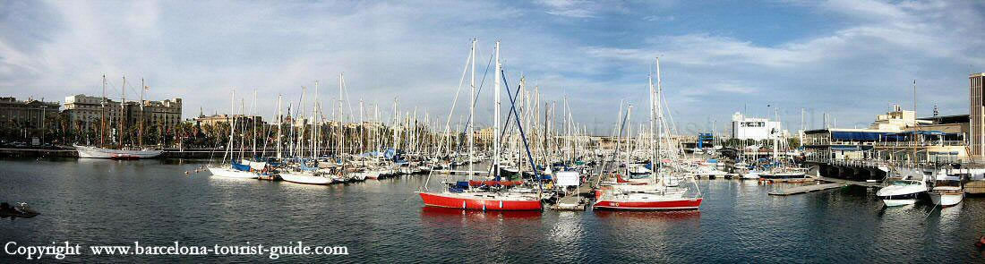 A panoramic shot across the marina from Rambla del Mar.