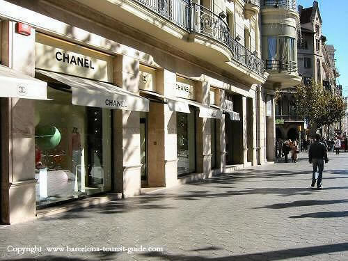 Passeig de Gràcia in Barcelona. One of the best shopping areas in the city.