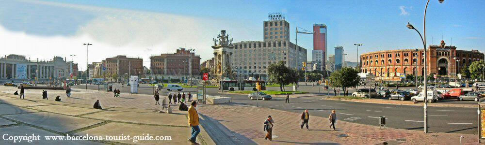 This is a panoramic shot of Plaça Espanya. You can see Plaça Espanya metro station (red sign) and if you pan around to the right of the photo you can see the old bullfight ring, which is now being converted into a shopping centre.