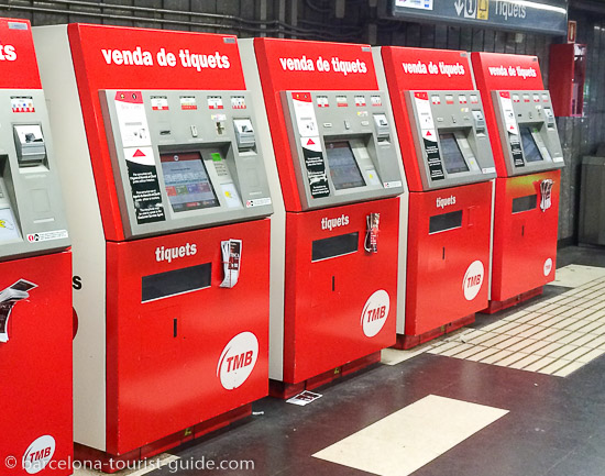 TMB ticket machines at Placa Catalunya station in Barcelona, Spain