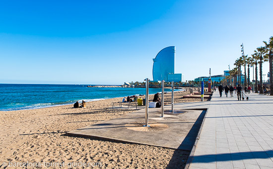 Sant Sebastia Beach in Barcelona, Spain