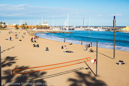 Somorrostro Beach in Barcelona, Spain