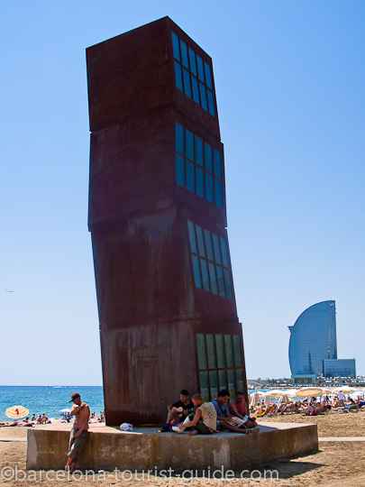 Architecture on the beach and Barceloneta Homenatge a la Barceloneta.  Homenatge a la  Barceloneta
