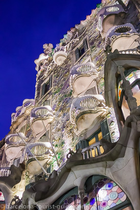 "Casa Batlló famous ""skull and bones"" balconies. The façade colours were inspired by natural corals."