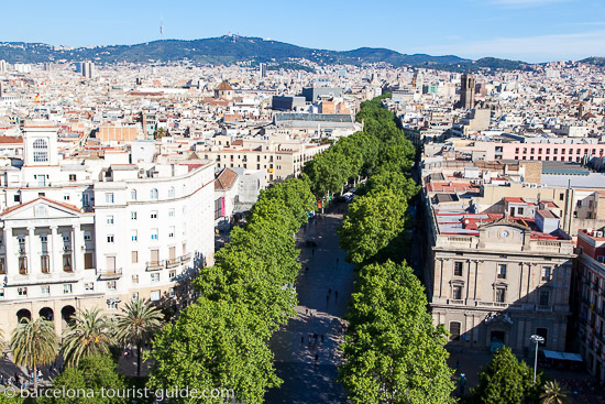 Overlooking La Rambla from the Columbus Monument in Barcelona, Spain
