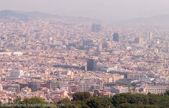 View of Barcelona city from the Montjuïc cable car