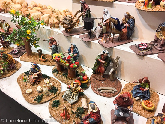 A stall selling Nativity figurines