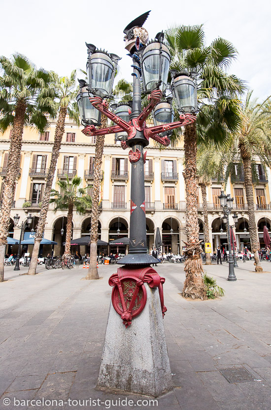 Gaudi's street lamps in Placa Reial