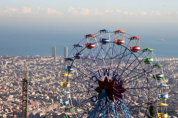 Tibidabo big wheel in the amusement park