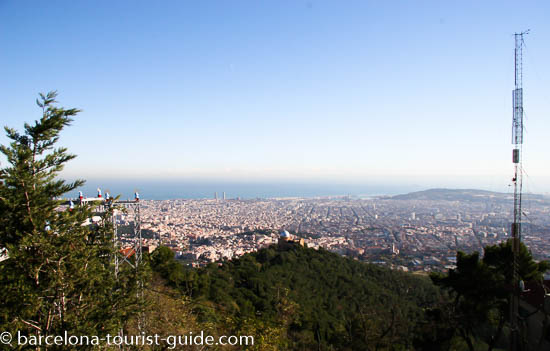 Panoramic views of Barcelona from Tibidabo mountain