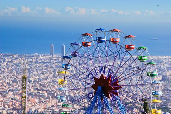 Tibidabo amusement park with panoramic views of Barcelona city