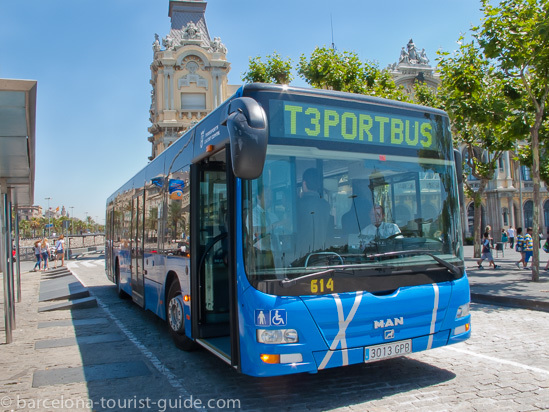 Cruise port shuttle bus service in Barcelona, Spain