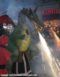 Sparkler-breathing dragon at the Correfoc fire run