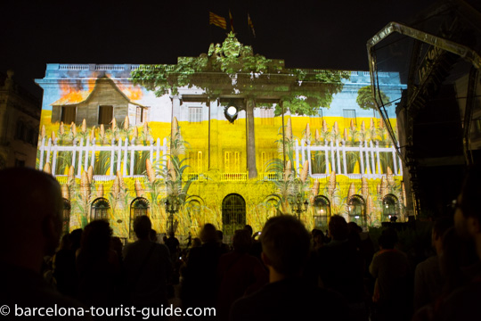 Projection show at Plaça St Jaume at the La Mercè Festival in Barcelona