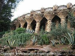 Antonio Gaudí parc Güell - large organic looking columns made from stone.