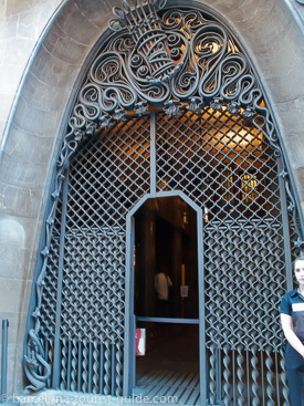 Gaudi design iron entrance gate at Palau Guell