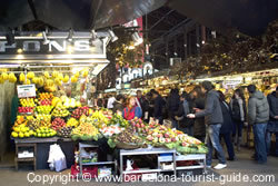 Fruit stalls at La Boqueria