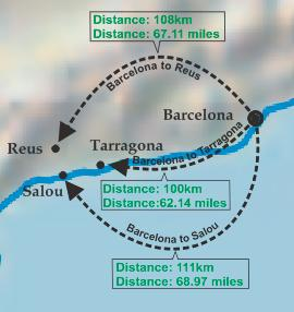 Map Of Spain Showing Salou.Transfer Barcelona To Salou Trains Bus Taxi
