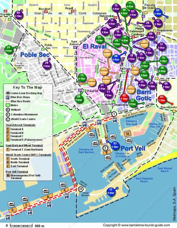 Location map showing the hotels near the Cruise Terminal in Barcelona, Spain.