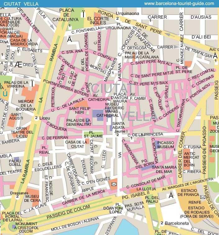 Mapa De Las Calles De Barcelona Ciutat Vella