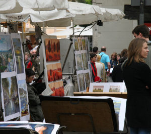 Barcelona Art - Local Artists display their works at Plaça St Josep Oriel Square