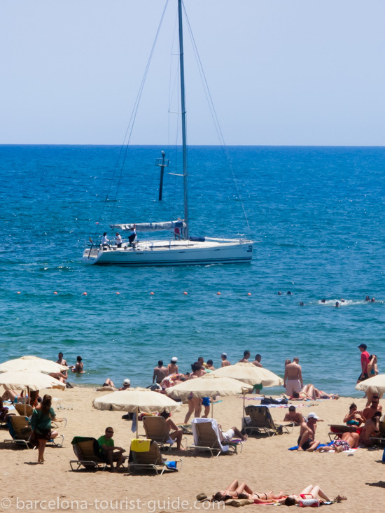 Sailing and swimming are popular activities at the beach
