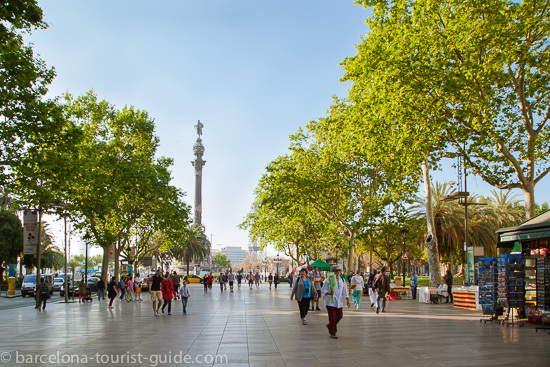 Las Ramblas Boulevard with Christopher Columbus monument.