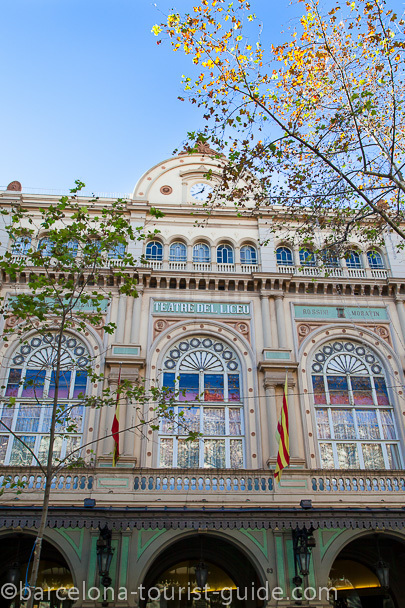 Liceu theatre in Barcelona on the Ramblas in Barcelona, Spain