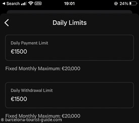 You have full control to set your daily spending limits on your card from within the N26 app