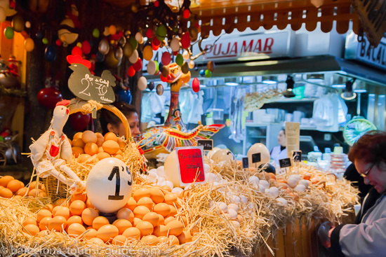 Eggs galore at Boqueria market!