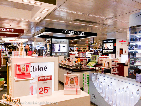 Cosmetics counter in Corte Inglés in Barcelona