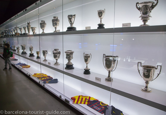 Trophies on display at FC Barcelona museum