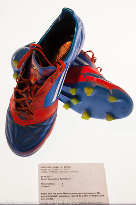 Barcelona FC football boots worn by famous players on show at the FC Barcelona Experience tour.
