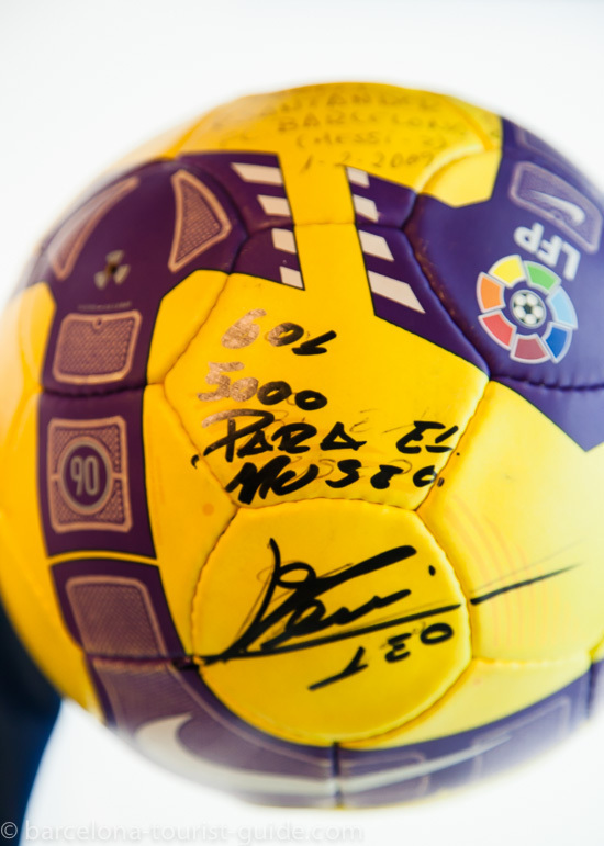 A signed football on display at the Camp Nou museum.