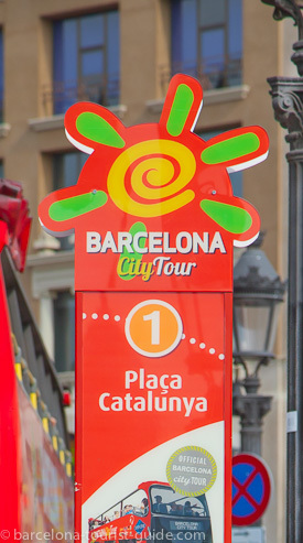 Barcelona City Tour bus stop at Placa Catalunya