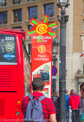 Barcelona Tours bus stop at Placa Catalunya Square