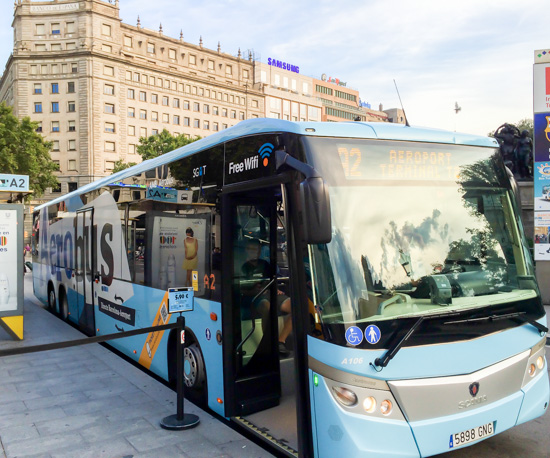 Aerobus stop in Plaça de Catalunya located outside El Corte Inglés