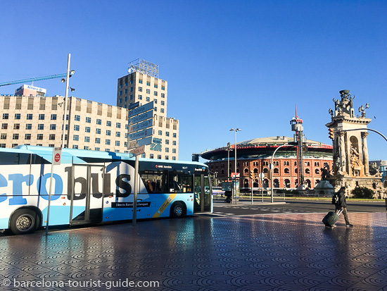Aerobus stop in Plaça España when you are arriving from Barcelona airport