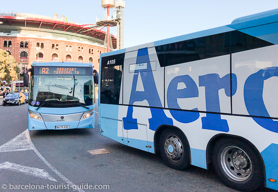 Aerobuses in Plaça España when going to Barcelona Airport