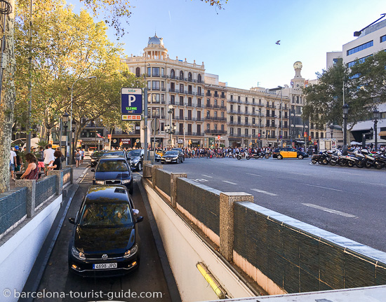 Car parking in Placa Catalunya, Barcelona, Spain