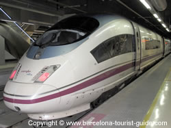 AVE hight velocity train between Barcelona to Madrid at Barcelona Sants rail station.